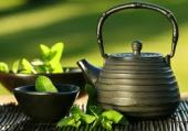 Green tea, tea pot