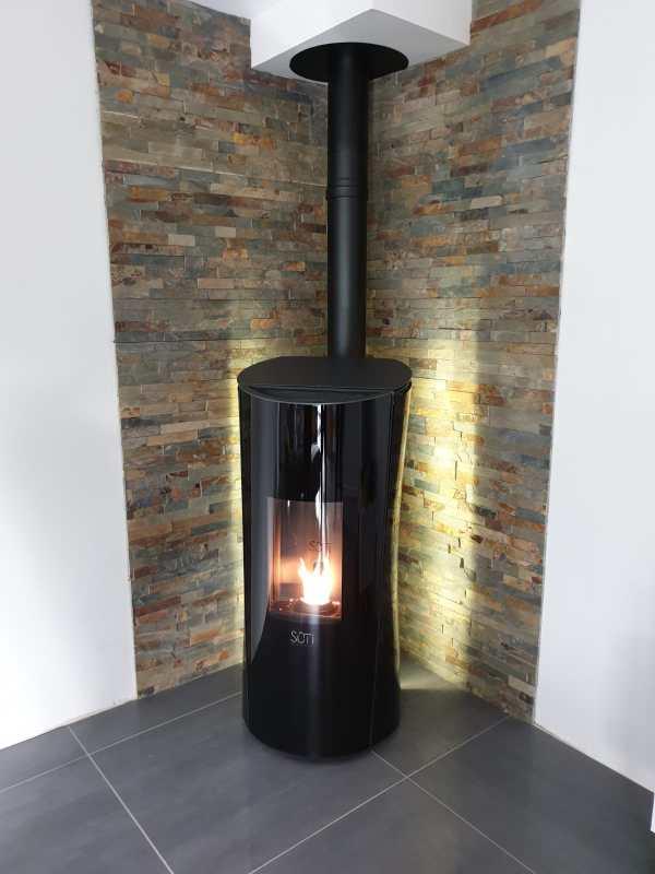 SÛTI Design & Utility | Poêles à pellets design | SP1 verre noir