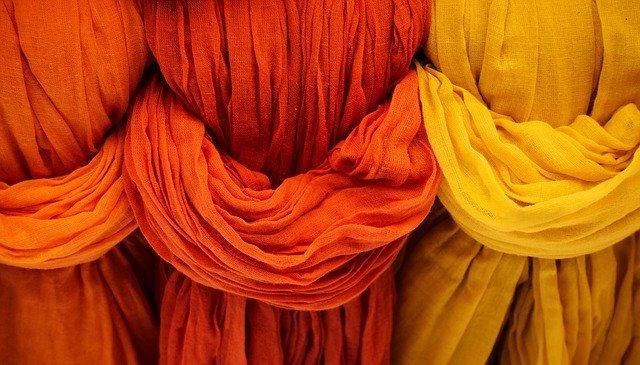 photo of cloth dyed various shades of orange