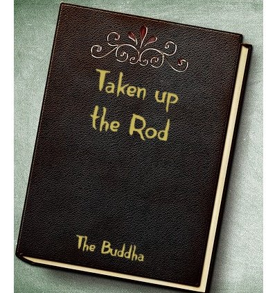 Leather book Cover with Taken up the Rod as title