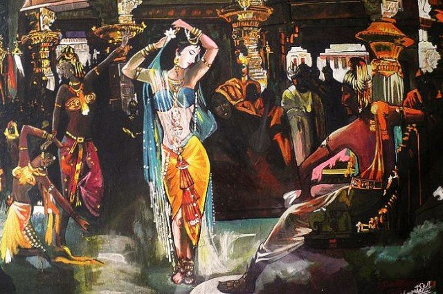 attractive girl dancing with sari in front of audience from buddhist era