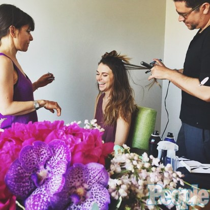 Getting ready for Broadway's big night with my glam squad