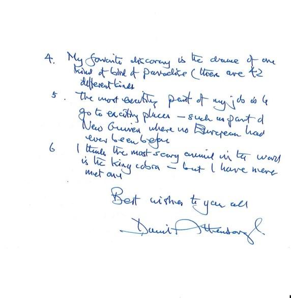 Davvid attenborough letter 2
