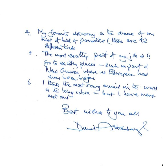 Davvid attenborough letter 2