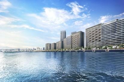 緑道公園と4街区の海からの風景完成予想CG