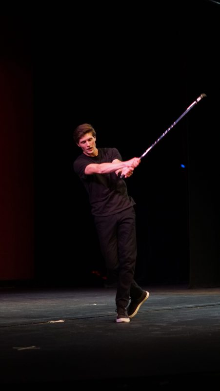 """Andrew Finlinson performing """"Bet On It"""" at Mr. SUU. Photo By Mitchell Quartz."""