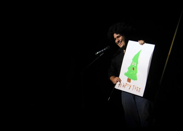 "Garth Frehner dressed as ""Bob Ross"" at Mr. SUU. Photo By Samantha Burfiend."