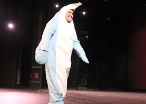 Garth Frehner dressed as a dolphin during Mr. SUU. Photo By Samantha Burfiend.