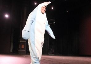 Garth Frehner dressed as a dolphin during Mr. SUU. Photo By Samantha Burfiend.