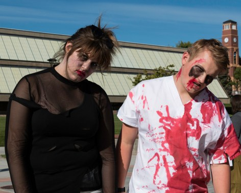 Zombies Carlee Jo Blumenthal and Brendon Larsen get into character in preparation for the Walking Dead Escape. Photo courtesy of Morgan Barton.