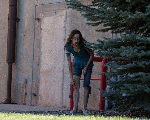 "Near the SUU Centrum Arena Joelle Carling is preparing to surprise some unsuspecting survivors. During the ""Walking Dead Escape"" event held Tuesday, September 19th. Photo courtesy of photo journalist Morgan Barton."