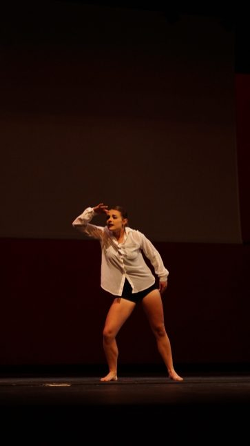 Laura Kehr doing a dance during the talent portion.