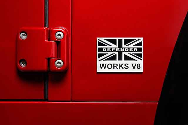 2018 Land Rover Defender Works V8 badge