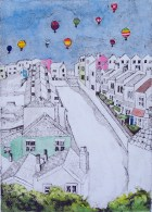 Balloons Over Totterdown, Collagraph and watercolour