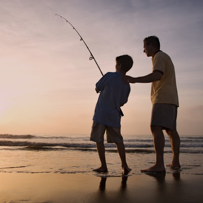 Man and Young Boy Fishing