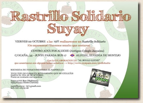 Rastrillo Solidario Suyay, próximo 22 de octubre