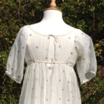1805-1810 muslin with metal star embroidery and back ties cropped