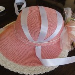 Hat 2 Remove ribbon, then put back in place only under the band, using the pin as a guide as to fold location