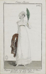Hinged parasol, Costume Parisien, 1810