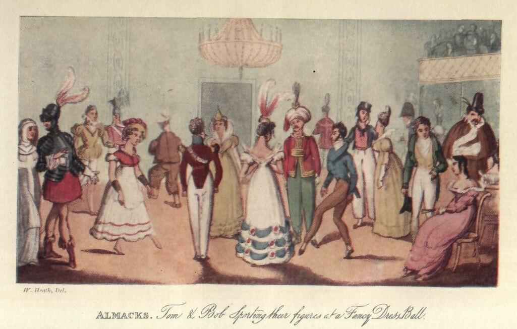 """Almacks: Tom and Bob Sporting Their Figures at a Fancy Dress Ball"" by W. Heath, 1821"