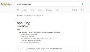 google-spelling-definition