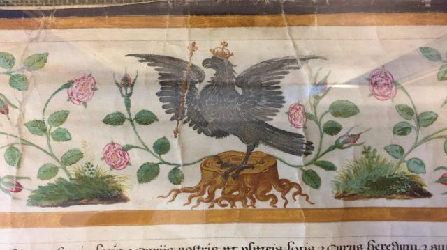 Falcon, crowned, with sceptre, on tree-stump - Badge of Anne Boleyn