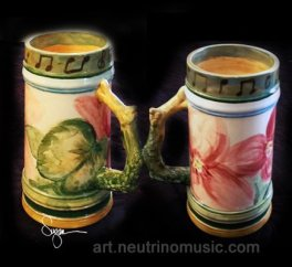 Ceramic drinking steins painted by Suzanna