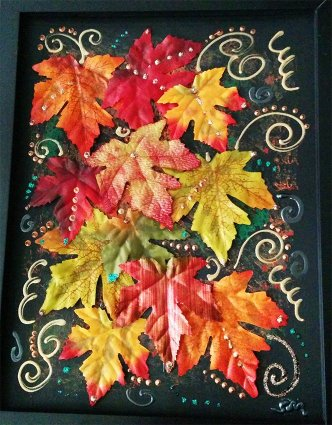 Silk Leaves Collage by Suzanna