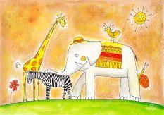 18137853-groupe-d-animaux-dessin-d-enfant-s-peinture-l-aquarelle-sur-papier-banque-dimages
