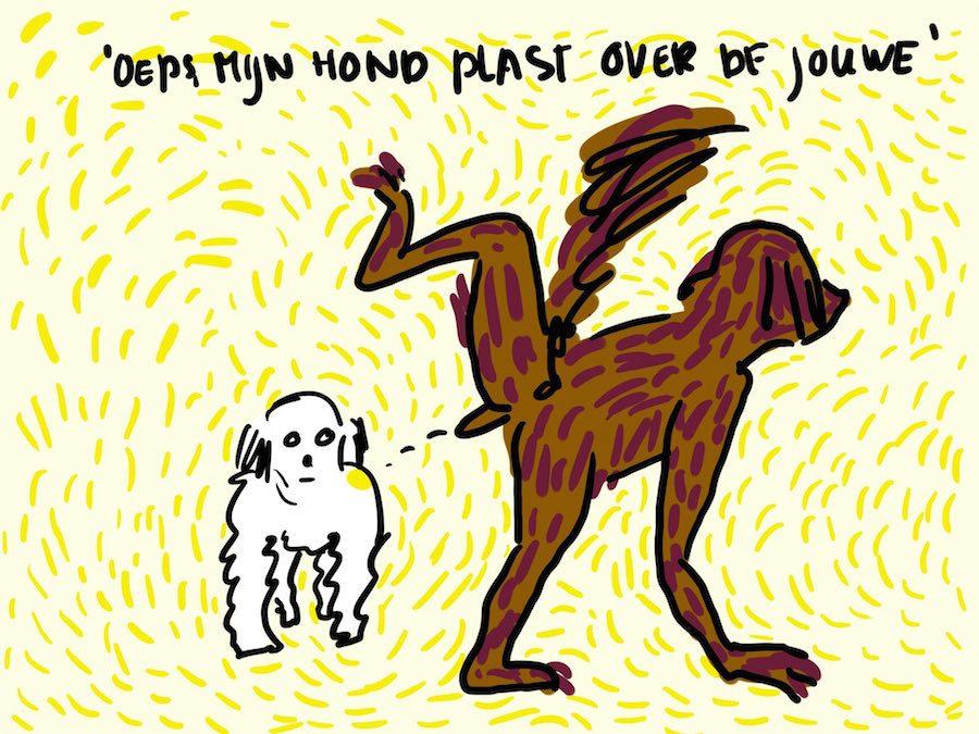 Hond plast over een andere