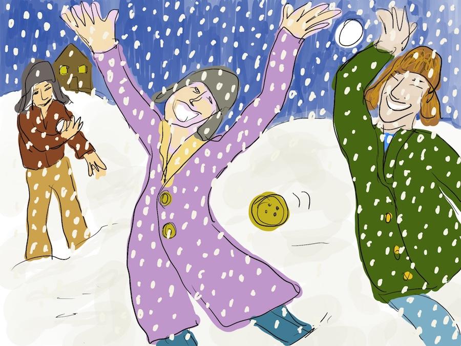 Een uitbundige vrouw en twee mannen in de sneeuw