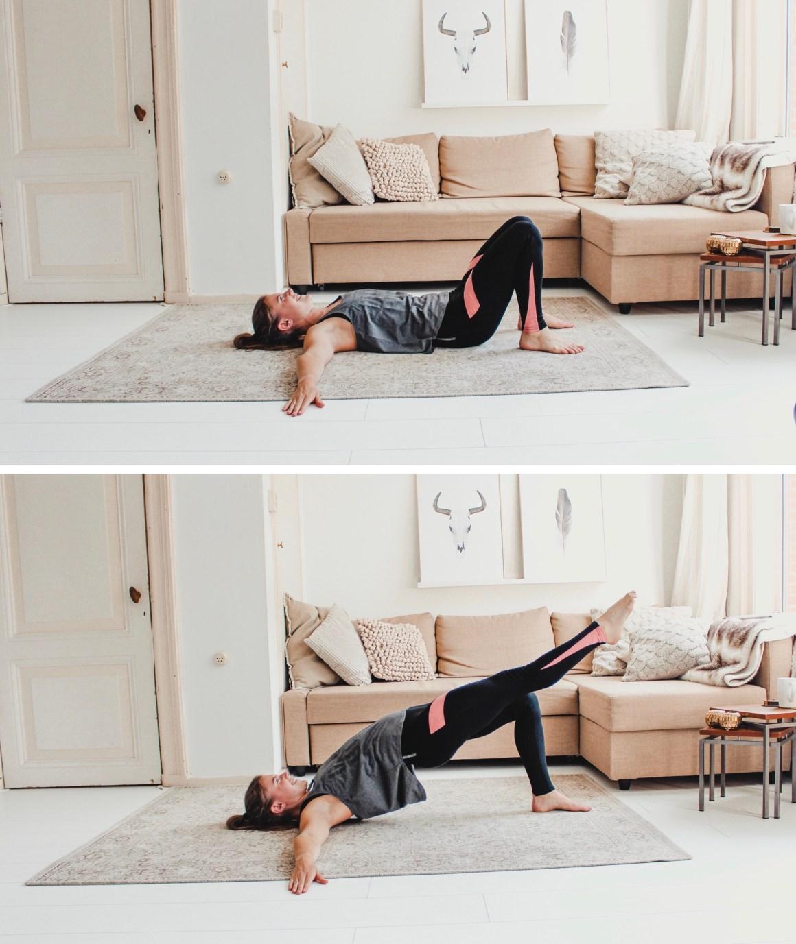 single leg hip extension - spierversterkende oefeningen