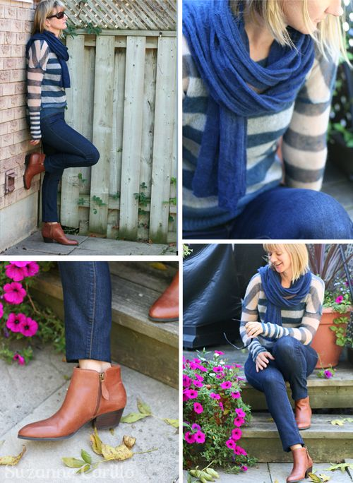 Easy fall outfit striped sweater jeans and booties suzanne carillo