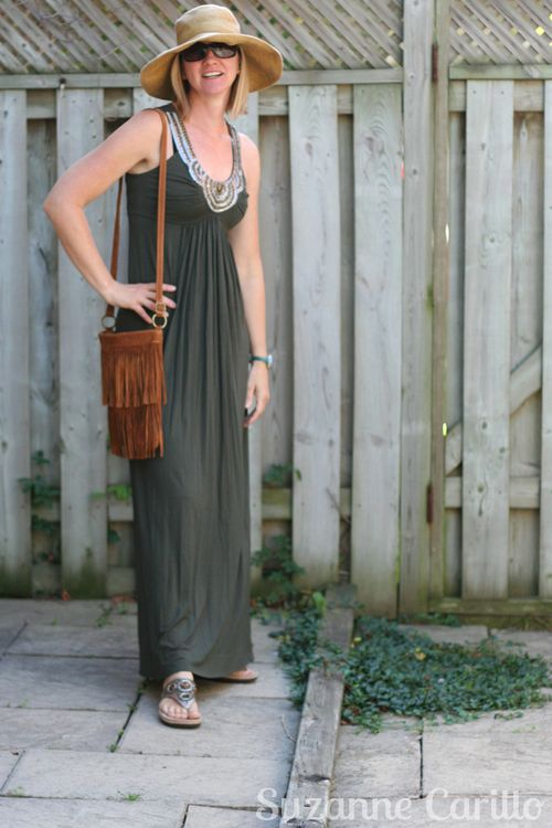 How to wear a maxi dress in summer over 40 style suzanne carillo