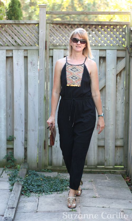 How to wear a jumpsuit over 40 black anthropologie jumpsuit suzanne carillo