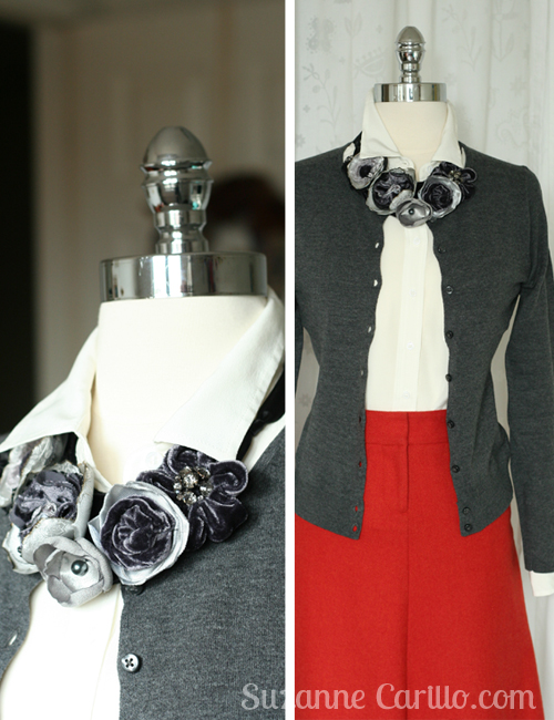 Handmade fabric statement necklace by Suzanne Carillo
