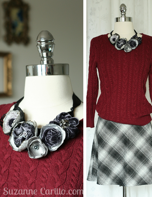 One-of-a-kind fabric statement necklace giveaway by Suzanne Carillo