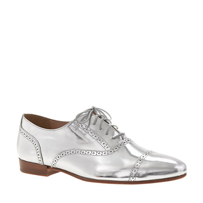 J Crew Silver Metallic Oxfords