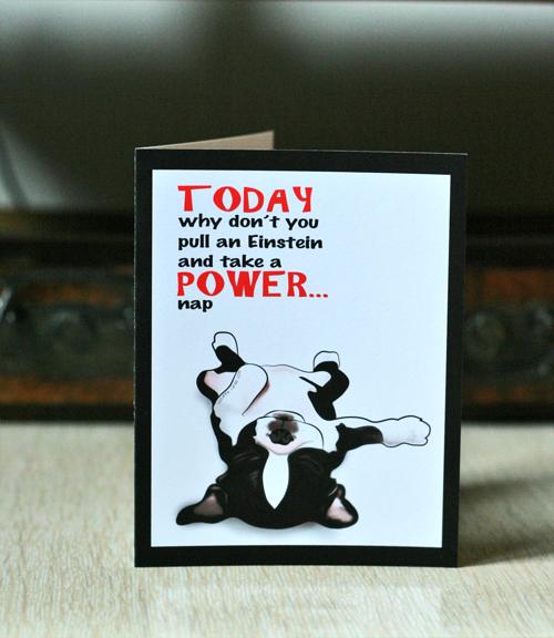 Cute Boston Terrier Greeting Card