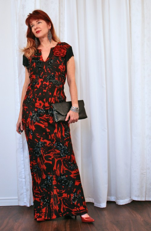 Red and black patterned vintage gown