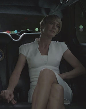 Claire Underwood wearing white
