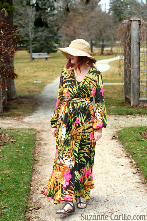 How to wear a bold floral maxi dress over 40