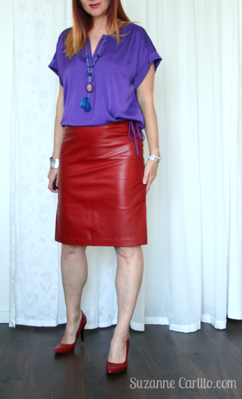 how to wear purple and red together over 40