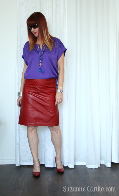 how to wear red and purple together over 40