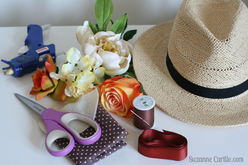 materials required for DIY floral summer hat