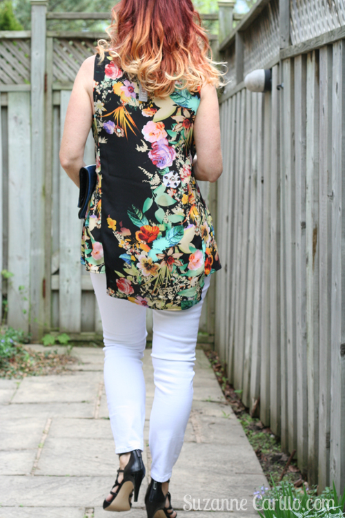 white jeans and floral tunic