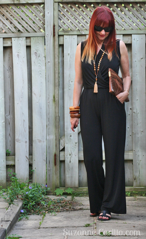 how to style a black jumpsuit over 40