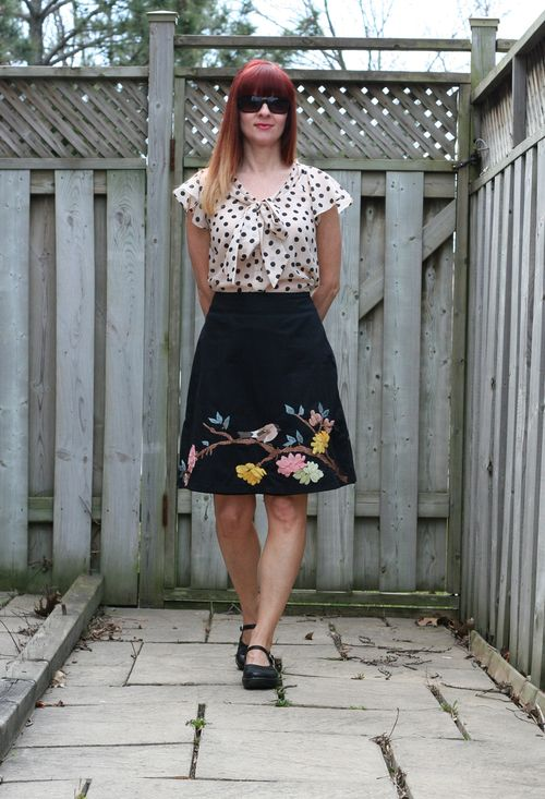 anthropologie embroidered a-line skirt