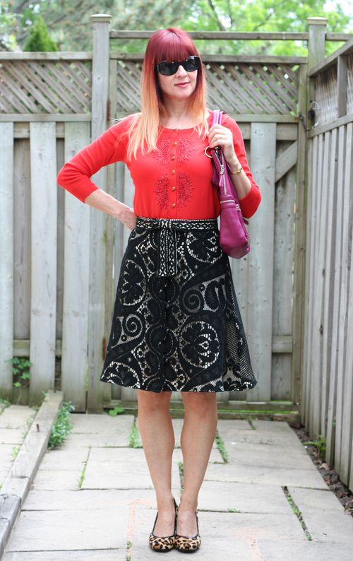 black lace vintage a-line skirt