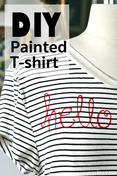 DIY painted t-shirt hello goodbye